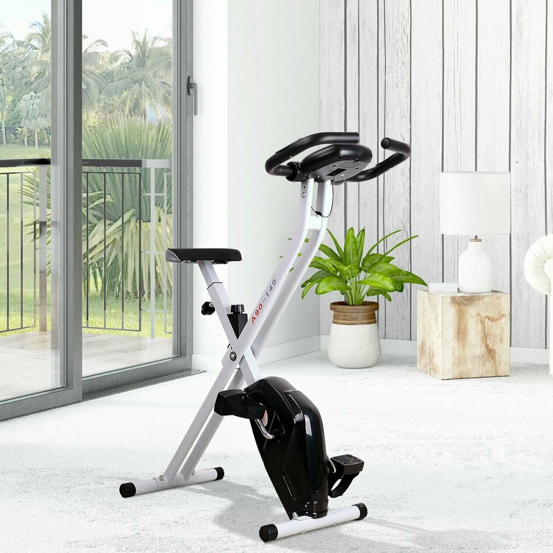 HOMCOM® Heimtrainer mit LCD-Monitor Fitnessfahrrad verstellbar klappbar Stahl Schwarz