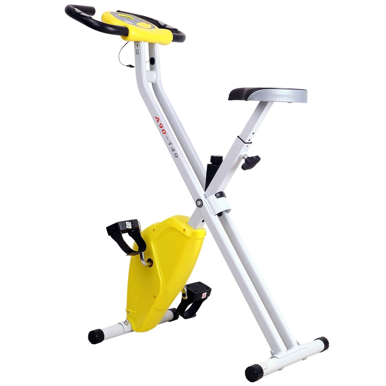 HOMCOM® Heimtrainer mit LCD-Monitor Fitnessfahrrad verstellbar klappbar Stahl Gelb