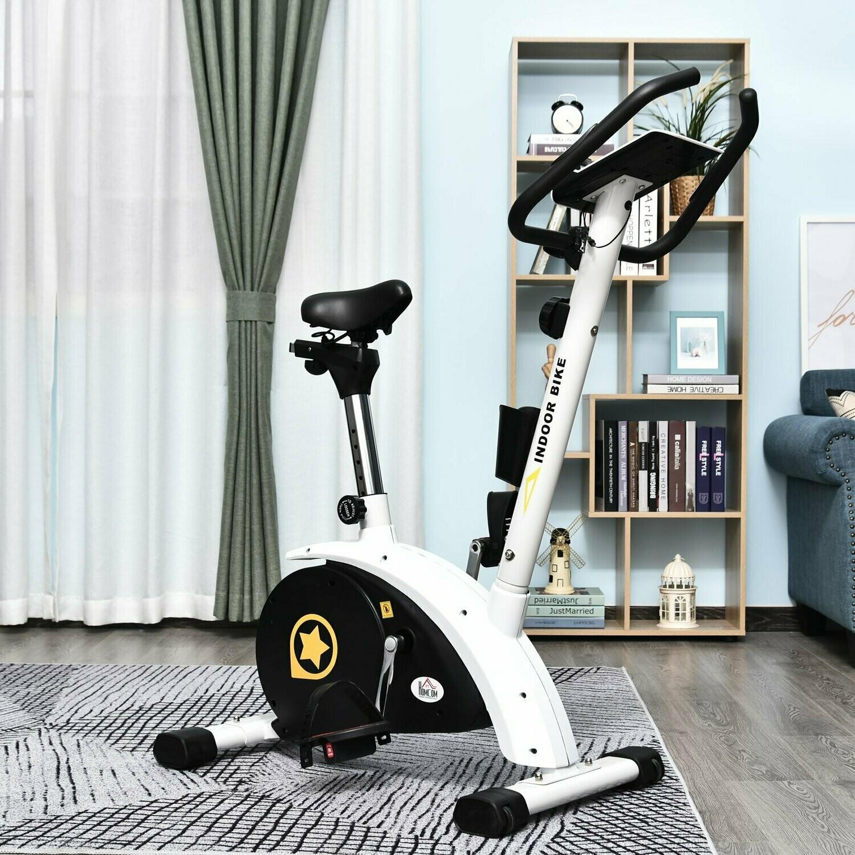 HOMCOM® Heimtrainer Fahrradtrainer Trimmrad für zuhause Stahl Weiss