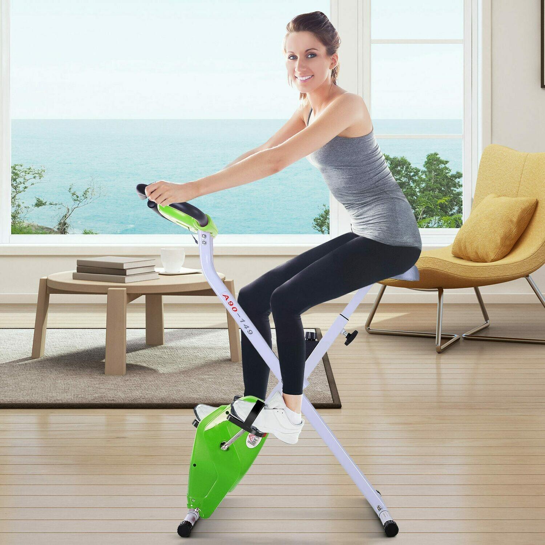 HOMCOM® Heimtrainer mit LCD-Monitor Fitnessfahrrad verstellbar klappbar Stahl Grün