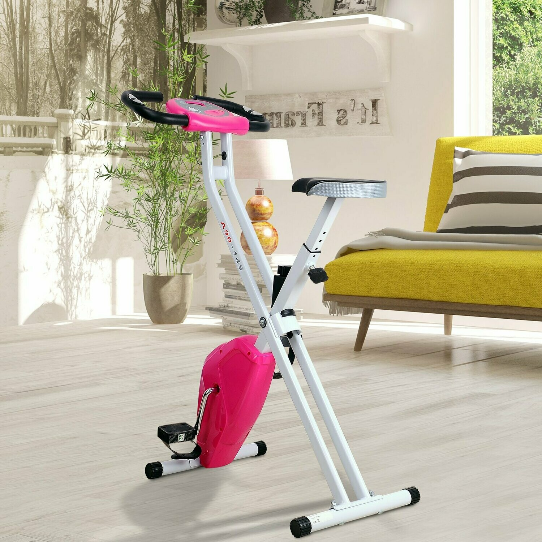 HOMCOM® Heimtrainer mit LCD-Monitor Fitnessfahrrad verstellbar klappbar Stahl Rosa