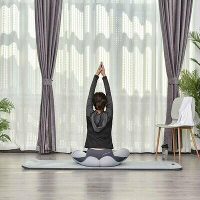 HOMCOM® Yogamatte Rutschfeste Sportmatte Gymnastikmatte mit Tragegurt Grau