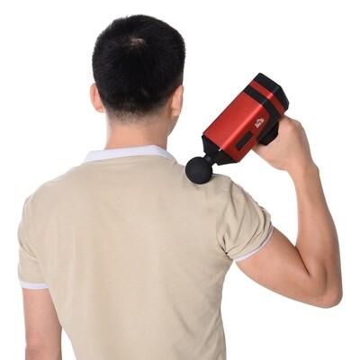 HOMCOM® Massagepistole Massage Gun Massagegerät 6 Köpfe 20 Geschwindigkeitsstufen Alulegierung Rot 6,5 x 17,5 x 22 cm