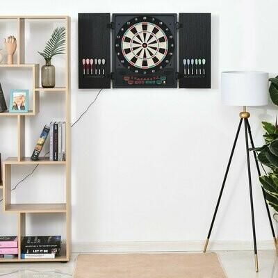 HOMCOM® Elektronische Dart-set Dartboard Dartscheibe mit 12 Darts Schwarz+Weiß 8 Spieler