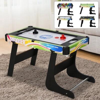 HOMCOM® Tischspiel 4 in1 Kickertisch für Fußball Hockey Tischtennis Billard Multigame