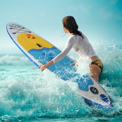 HOMCOM® Aufblasbares Surfbrett Surfboard Stand Up Board mit Paddel Rutschfest PVC Weiss