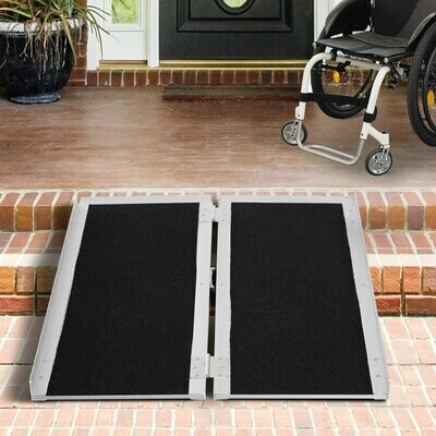 HOMCOM® Rollstuhlrampe Auffahrrampe für Rollstühle Rollatoren Faltbar Aluminium PVC