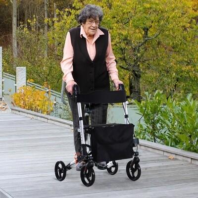 HOMCOM® Rollator mit Stuhl Faltbarer Gehwagen Tasche Verstellbare Griffe Alulegierung