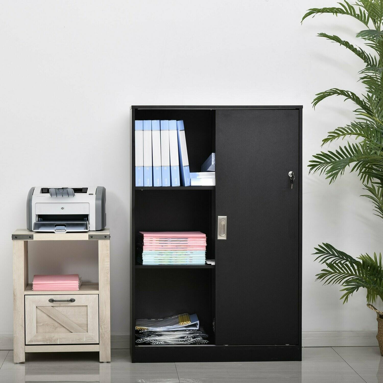 HOMCOM® Rollcontainer Aktenschrank Bürocontainer Büroschrank mit 3 Regalen und 2 Türen