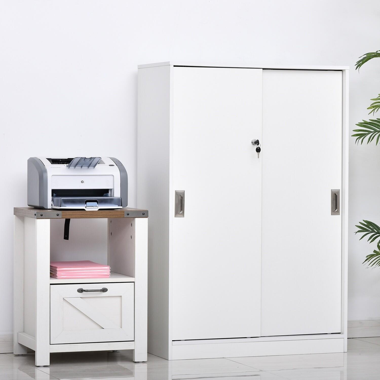 HOMCOM® Rollcontainer Aktenschrank Bürocontainer Büroschrank mit 3 Regalen und 2 Türen weiss