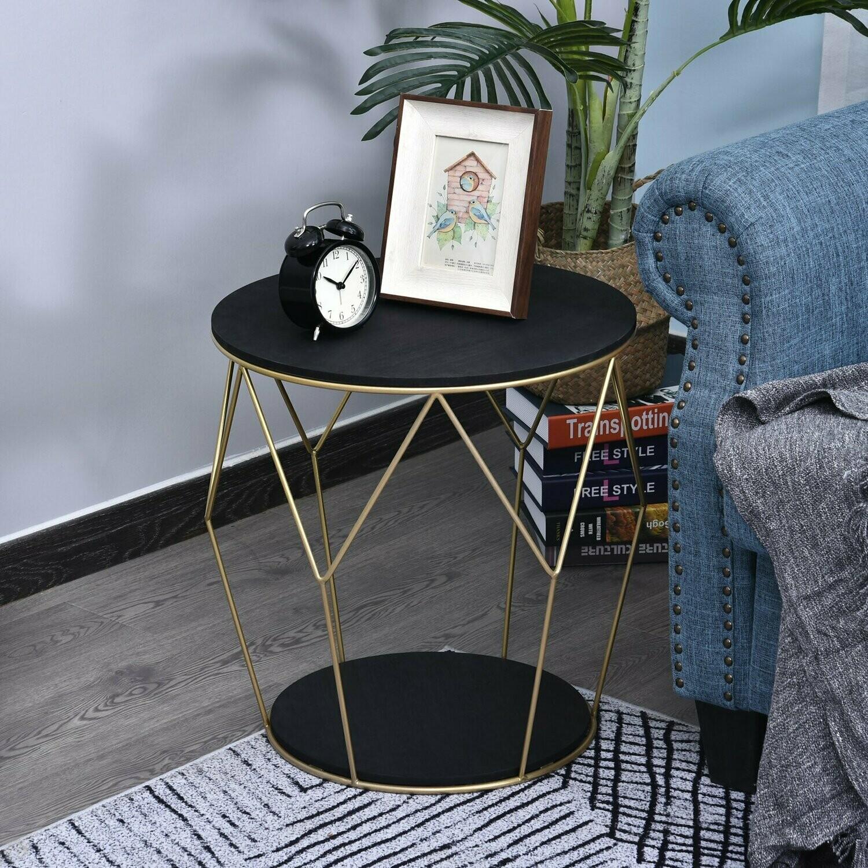 HOMCOM® Kaffeetisch mit Stauraum Beistelltisch Couchtisch Nachttisch Metall MDF Schwarz