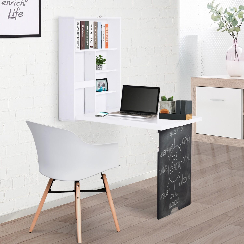HOMCOM® Wandtisch Klappbar Wandklapptisch Klappschreibtisch Computertisch Tafel MDF Weiß