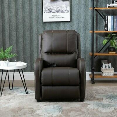 HOMCOM® Massagesessel mit Fußstütze und Heizfunktion | Relaxsessel | Braun | 70 x 93 x 100 cm
