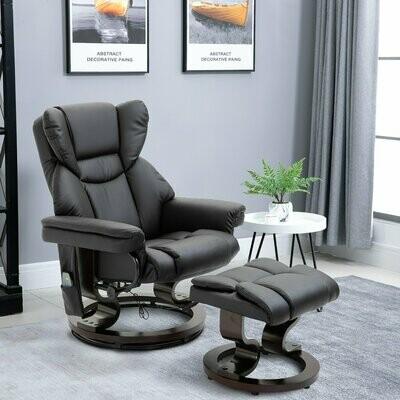 HOMCOM® Massagesessel mit Fußhocker und Heizfunktion | Relaxsessel | Schwarz | 79 x 82 x 101 cm