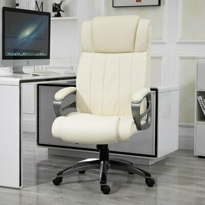 Vinsetto® Massagebürostuhl Drehstuhl höhenverstellbar Chefsessel Massagesessel Cremeweiss