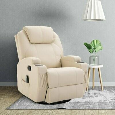 HOMCOM® Massagesessel Wärmefunktion | Eco-Leder, Schaumstoff, Metall | 84 x 92 x 109 cm | Creme