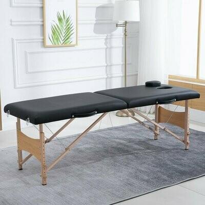 HOMCOM® Massageliege Mobiler Massagetisch Höhenverstellbar Kosmetik Bank Buche Schwarz
