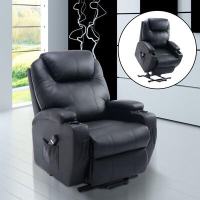 HOMCOM® Fernsehsessel mit Aufstehhilfe | Veganleder | 84 x 92 x 109 cm | Schwarz