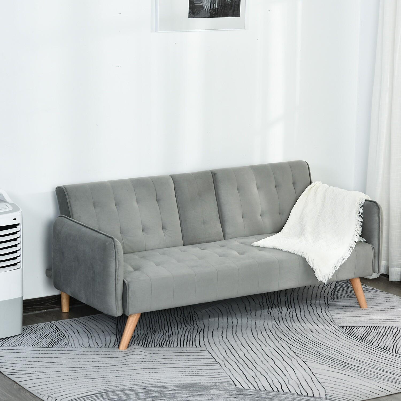 HOMCOM® Schlafsofa 3-Sitzer 183 x 87 x 75 cm Grau
