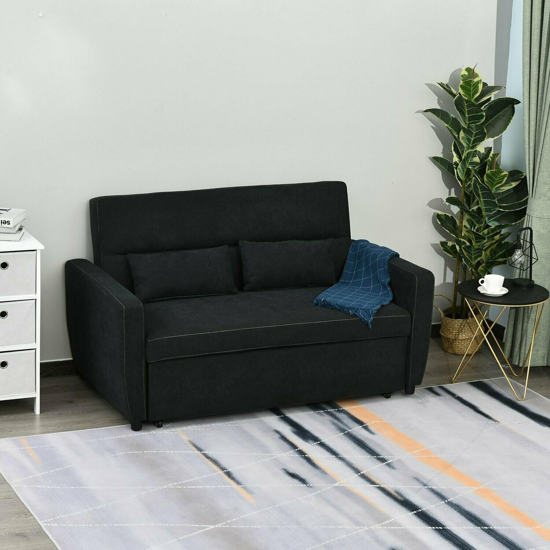 HOMCOM® Schlafsofa 2-Sitzer ausklappbar 148 x 82 x 89 cm Dunkelgrau