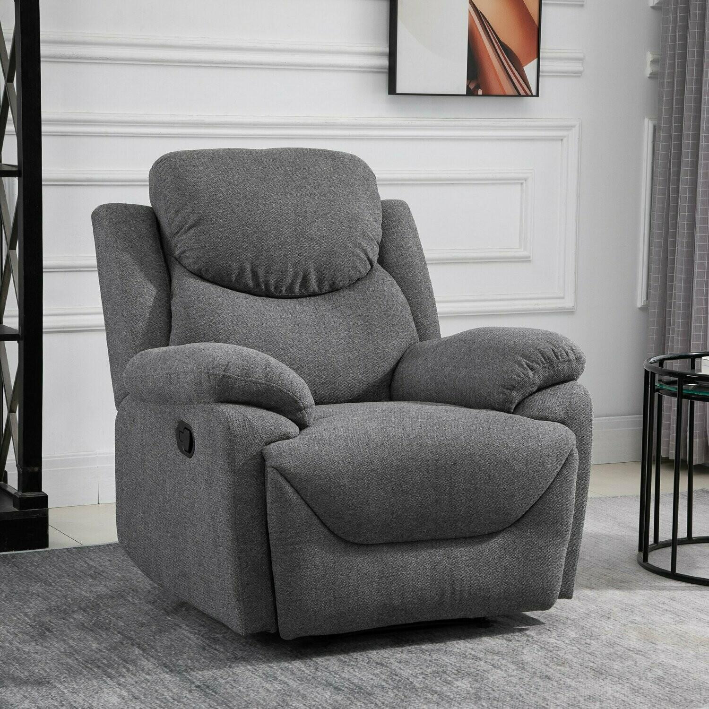 HOMCOM® Ergonomischer Relaxsessel 150° neigbar Einzelsofa Liege Fernsehsessel Leinen Grau