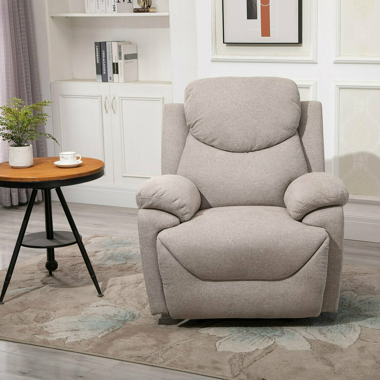 HOMCOM® Ergonomischer Relaxsessel 150° neigbar Einzelsofa Liege Fernsehsessel Leinen beige