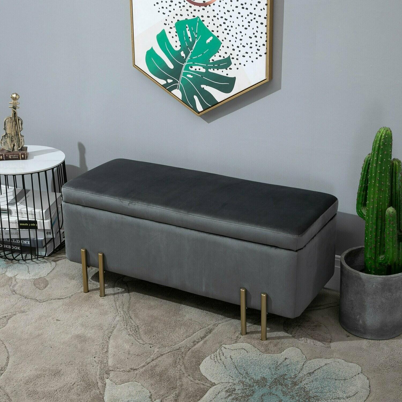 HOMCOM® Hocker Elegante Sitzbank mit Stauraum Polsterhocker Dunkelgrau