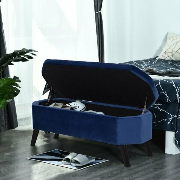 HOMCOM® Sitzbank Sitztruhe Bettbank Schuhbank 2-in-1 erhöhte Beine Samt Dunkelblau