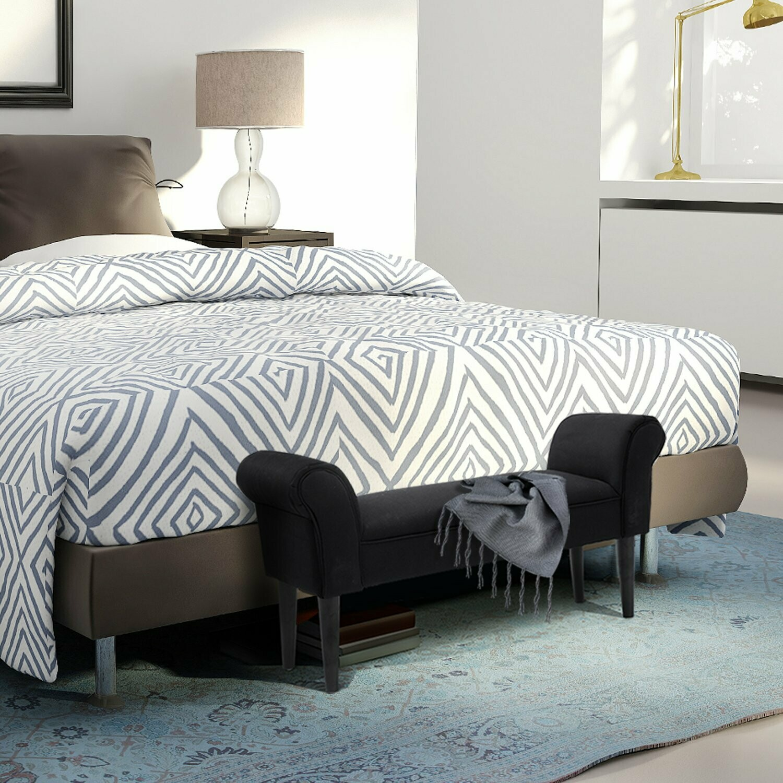 HOMCOM® Sitzbank für Schlafzimmer Bettbank Polsterbank MDF Schaumstoff Schwarz