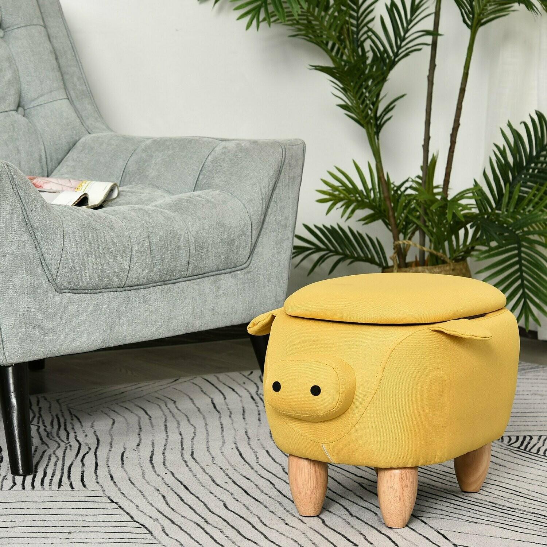 HOMCOM® Tierhocker für Kinder Kinderhocker mit Stauraum Schweinchen Sitzhocker Gelb