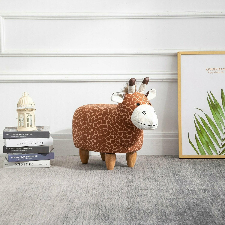 HOMCOM® Tierhocker Dekohocker Polsterhocker mit Tier-Design Gifaffe Sitzhocker