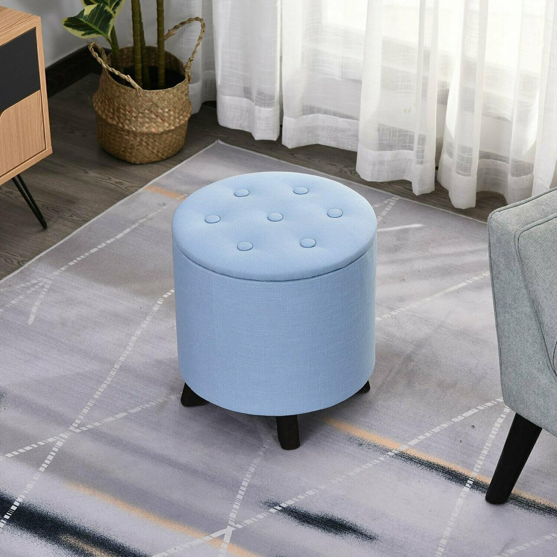 HOMCOM® Sitzhocker mit Stauraum Polsterhocker Fußhocker Leinen Hellblau Ø38 x 38Hcm