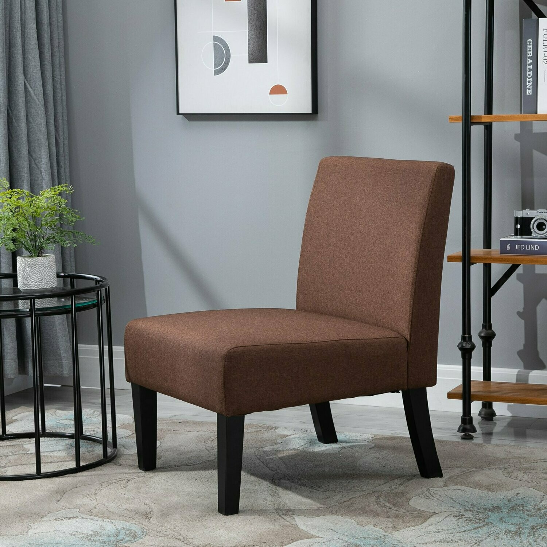 HOMCOM® Esszimmerstuhl Küchenstuhl mit hoher Rückenlehne Polyester Braun