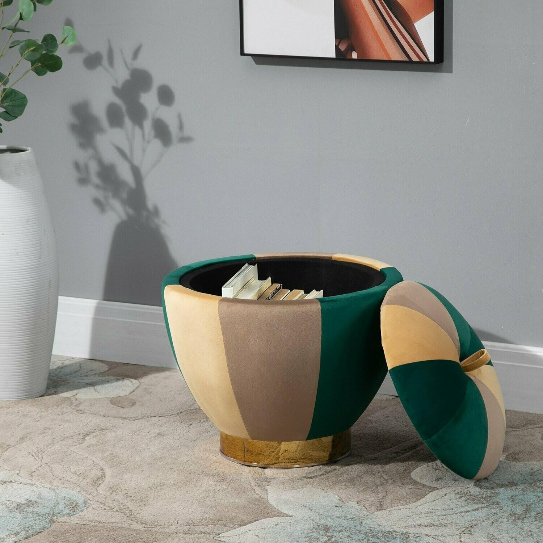 HOMCOM® Eleganter Hocker Sitzhocker mit Stauraum Polsterhocker Grün Braun Orange