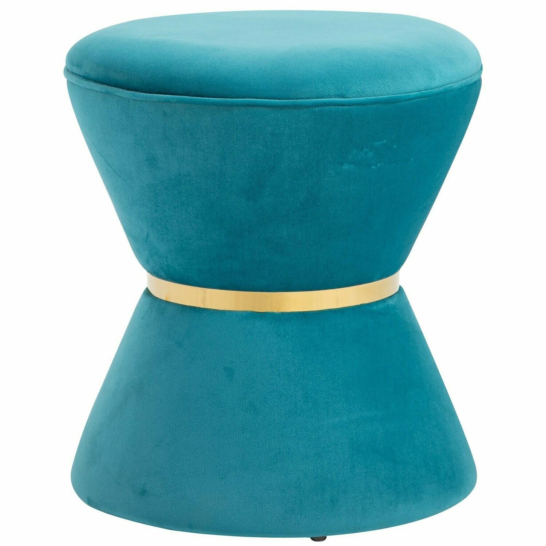 HOMCOM® Hocker im Sanduhr Design Sitzhocker Polsterhocker Pappelholz Himmelblau