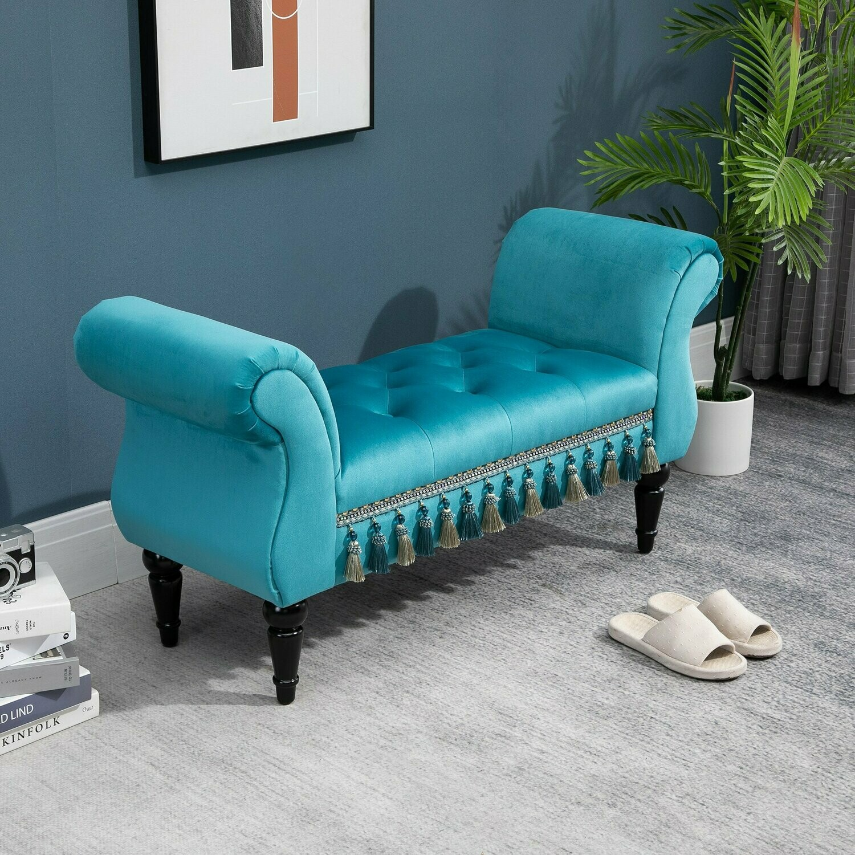 HOMCOM® Luxus Sitzbank Polsterbank Pappelholz Kautschuk Polyester Blau