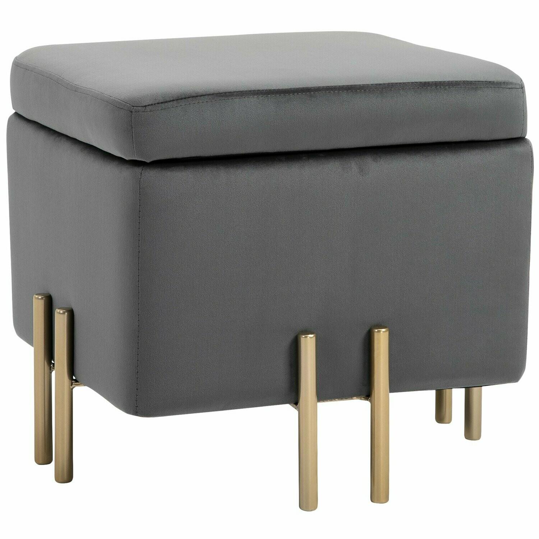 HOMCOM® Luxus Hocker Sitzhocker mit Stauraum Polsterhocker Dunkelgrau