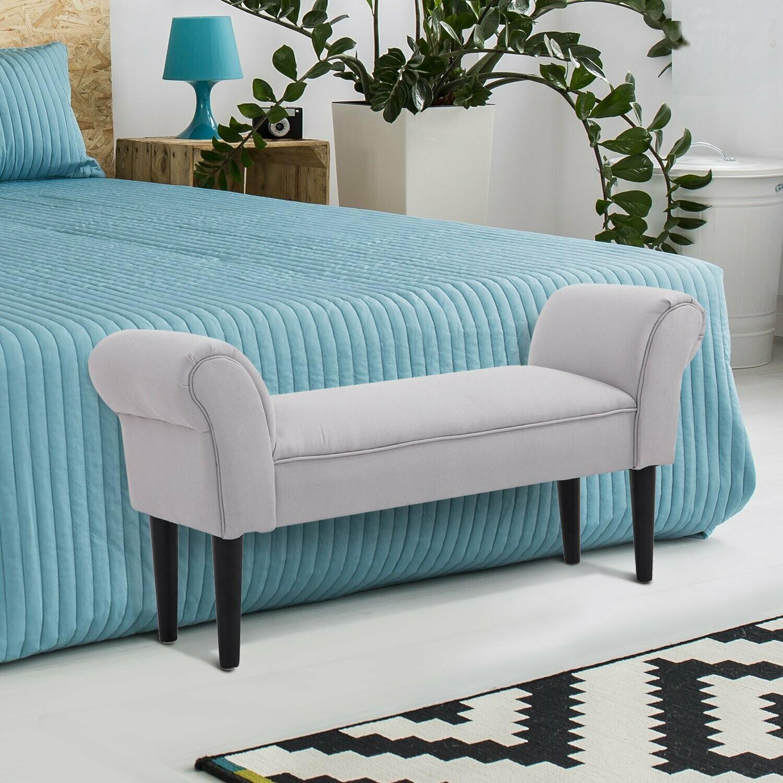 HOMCOM® Sitzbank für Schlafzimmer Bettbank Polsterbank MDF Schaumstoff Grau