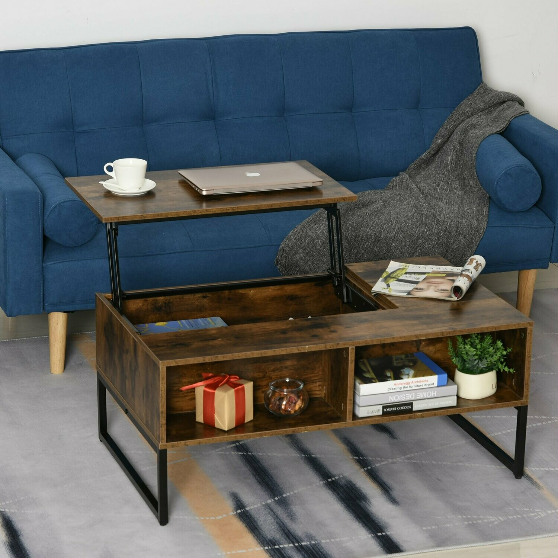 Outlet HOMCOM® Couchtisch Wohnzimmertisch Kaffeetisch mit Höhenverstellbarer Platte Braun