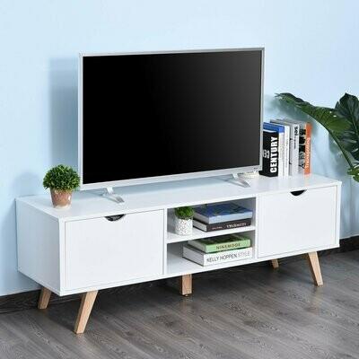 HOMCOM® TV Schrank TV-Kommode Schrankelement mit Schubladen MDF Weiss