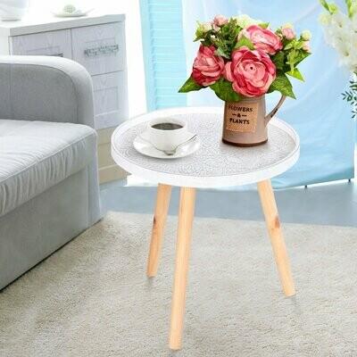 HOMCOM® Kaffeetisch Beistelltisch Nachttisch mit hoher Kante Massivholz MDF Weiss