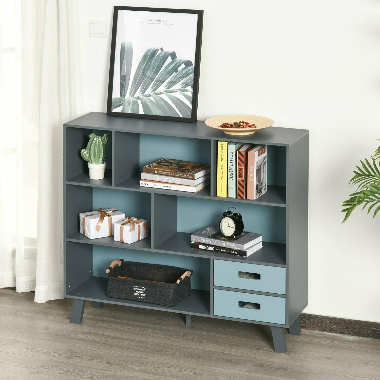 HOMCOM® Bücherregal Standregal Aufbewahrungregal Bücherschrank mit 2 Schubladen MDF Blau