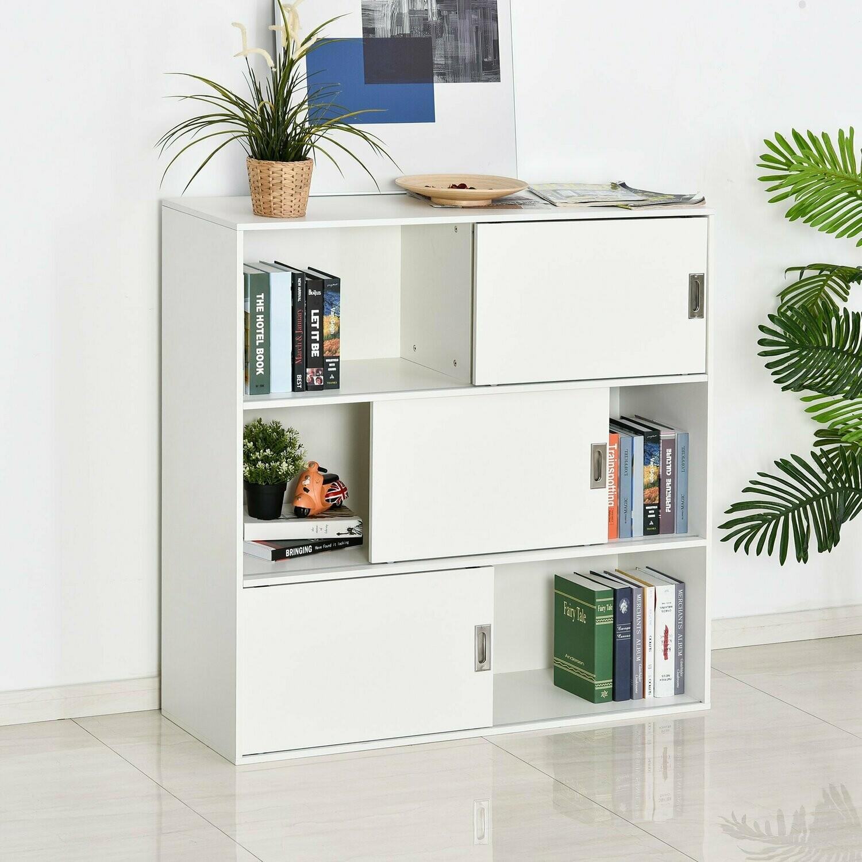 HOMCOM® Bücherregal Standschrank Aktenschrank Mehrzweckschrank Weiss 120x40x120cm