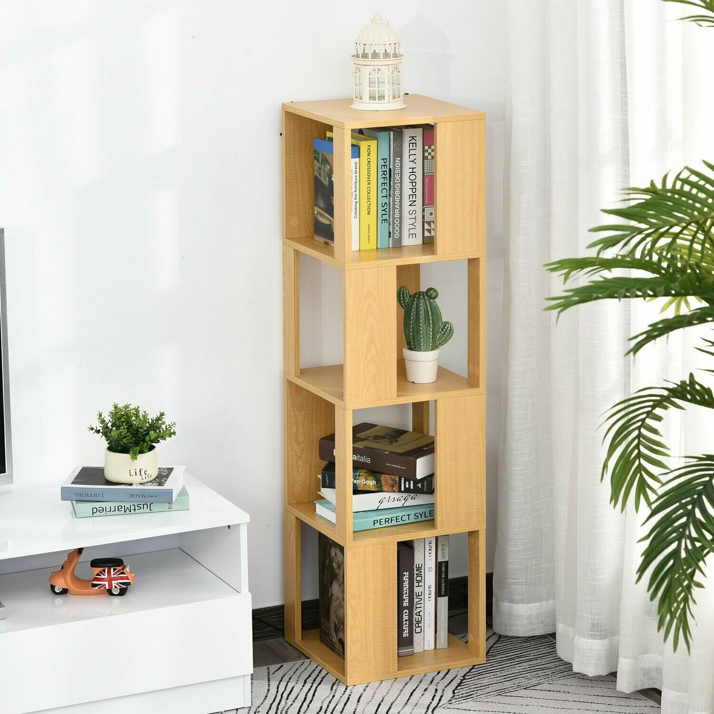 HOMCOM® Bücherregal Dekoregal mit 4 Ebenen Standregal zur Präsentation Natur