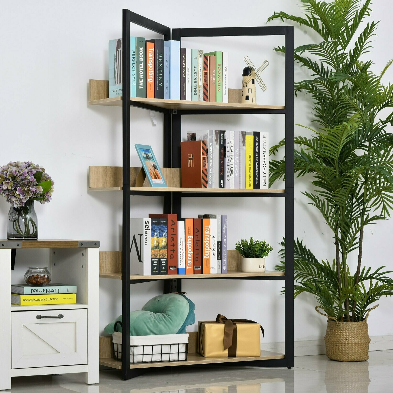 HOMCOM® Bücherregal Standregal Spanplatte+Stahl Eichefarben 90x39x160cm