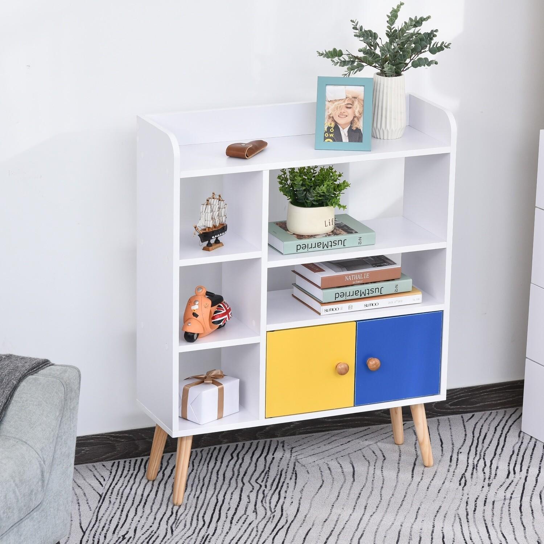 HOMCOM® Bücherregal Standregal Wohnzimmerregal Asymmetrisches Design Spanplatte
