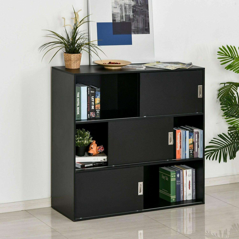 HOMCOM® Bücherregal Standschrank Aktenschrank Mehrzweckschrank 120x40x120cm Schwarz