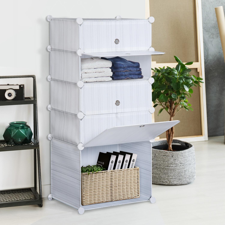 HOMCOM® Regal mit Aufbewahrungsboxen verstellbarer Schrank Weiss Grau
