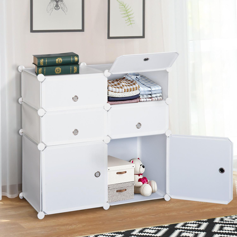 HOMCOM® Regal mit Aufbewahrungsboxen Schrank Kleiderschrank Weiss