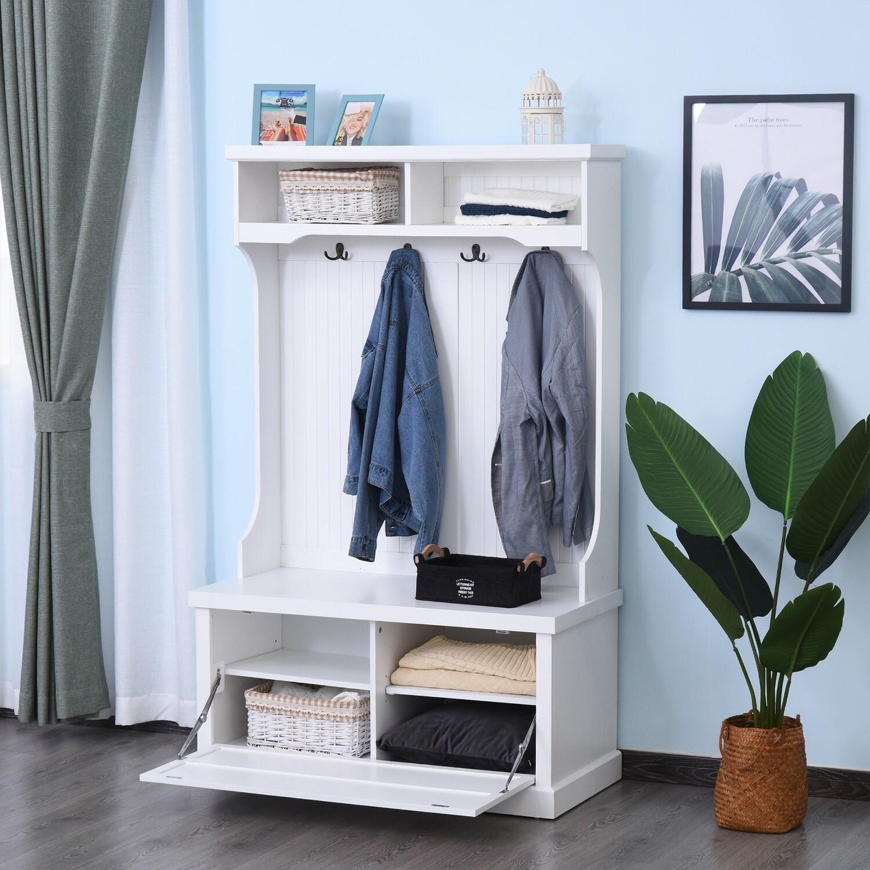 HOMCOM® Garderobenständer Garderobe Kleiderständer mit Sitzbank Kleiderhaken MDF Weiss